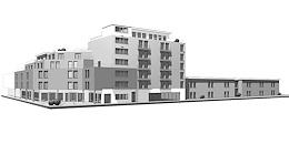 Ehemaliges Hotel. Umbau und Erweiterung zu einer Verbundanlage (Altenpflegeheim und betreutes Wohnen sowie Wohn- und Geschäftshaus)
